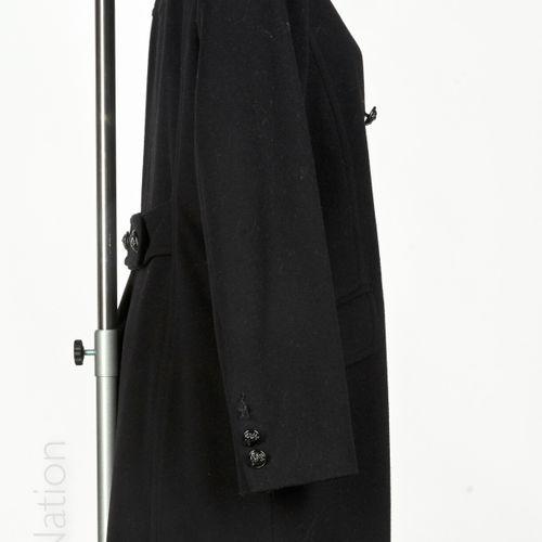 Georges RECH Asymmetrically faced black woollen coat, mink collar, double button…