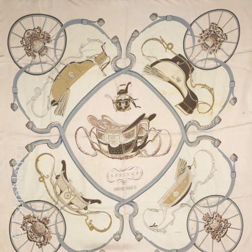 "HERMES Paris Vintage SQUARE in printed silk twill titled ""Springs"" (tapered silk…"