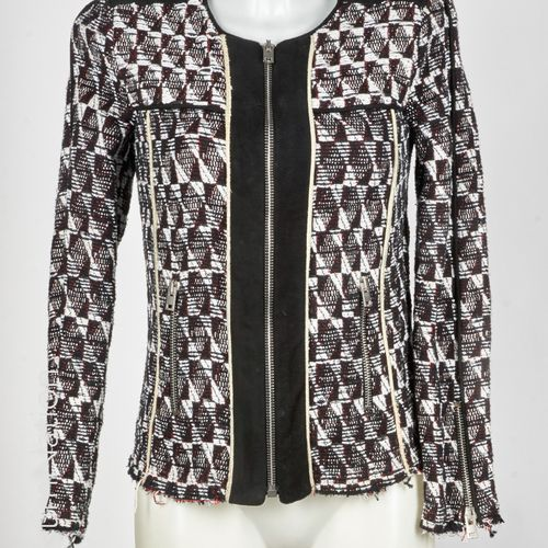 IRO Jacket in black, white and red cotton blend tweed, black lustrous sheepskin …