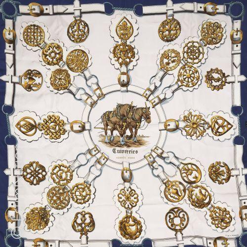 "HERMES Paris SQUARE in printed silk twill titled ""Copperware"" (small discolorati…"