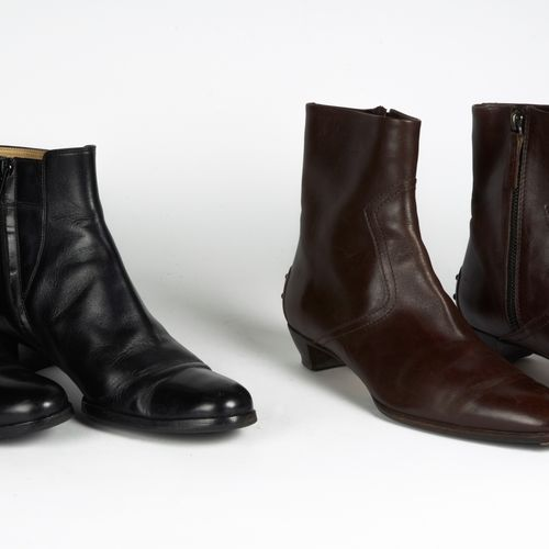 TOD'S, ANONYME TWO PAIRS OF BOOTS in leather: the first chocolate with picots (P…