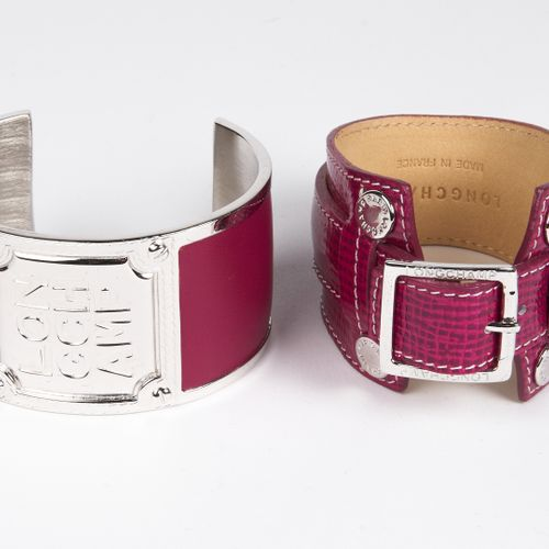 LONGCHAMP Brushed metal and fuchsia leather SEMICON SANDLE, Fuchsia patent leath…