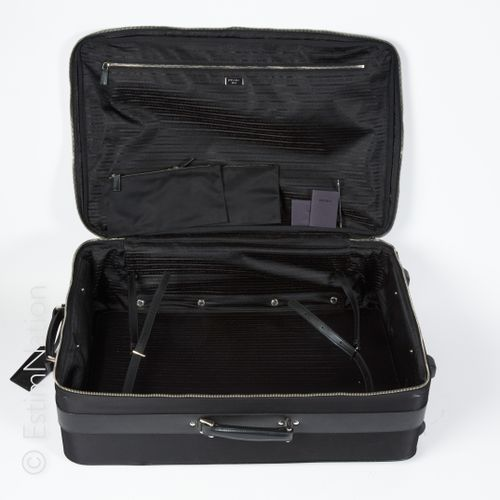 PRADA Luggage on wheels in nylon and black saffiano leather, saffiano leather ad…