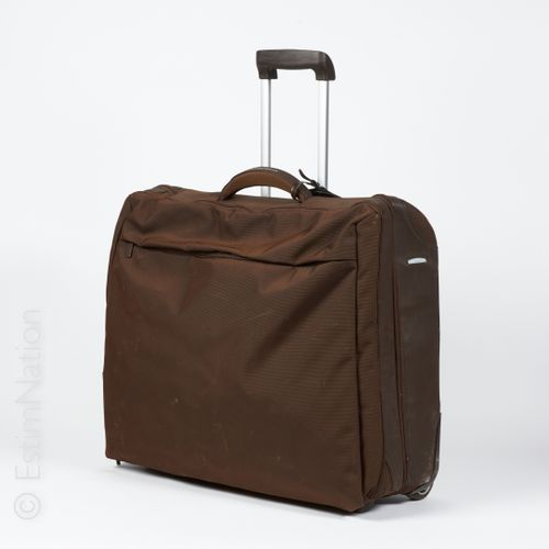 MANDARINA DUCK, ANONYME Foldable suitcase made of chocolate nylon with six cloth…