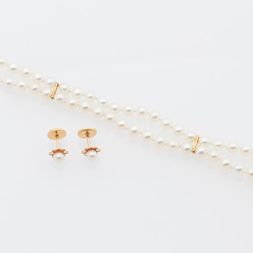 DEMI PARURE PERLES Half set in cultured pearls and 18K yellow gold (750/°°) comp…