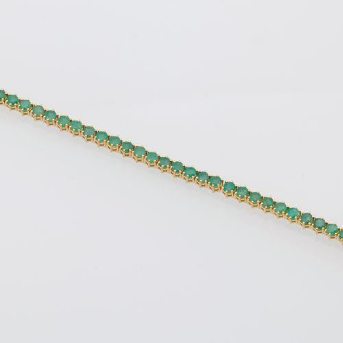 BRACELET EMERAUDES Vermeil (925 thousandths) line bracelet decorated with forty …