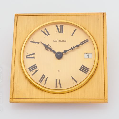 LE COULTRE PENDULETTE 8 day gilded metal table clock with mechanical movement.  …