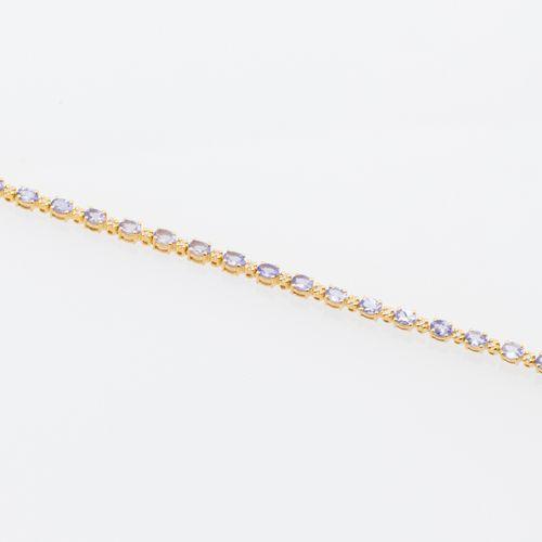 BRACELET TANZAITES DIAMANTS Line bracelet in vermeil (925 thousandths) adorned w…