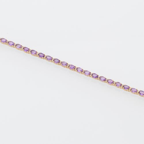 BRACELET AMETHYSTE DIAMANTS Line bracelet in vermeil (925 thousandths) adorned w…