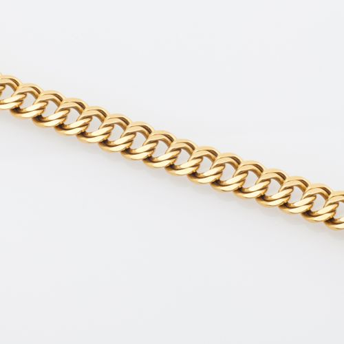 GOURMETTE OR JAUNE 18K yellow gold (750/°°) double link bracelet. Ratchet clasp …