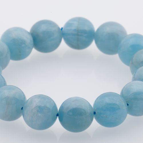 BRACELET AIGUE MARINE Bracelet composed of aquamarine beads navy. Mounted on ela…