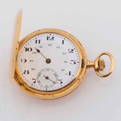 MONTRE DE GOUSSET EN OR Gusset watch in 18K (750/°°) yellow gold with white enam…