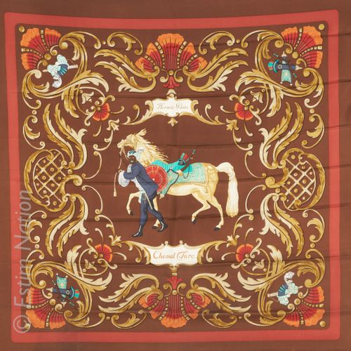 """HERMES Paris SQUARE in printed silk twill titled """"Cheval Turc"""" (small stains on …"""