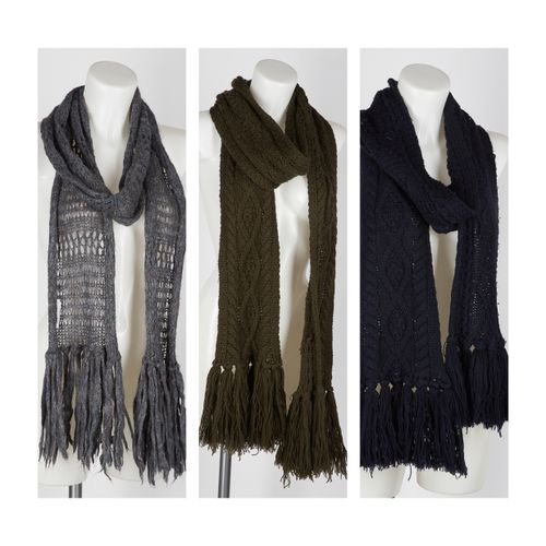 ISABEL MARANT Etoile THREE LONG khaki, green and navy fringed wool knit SCARVES …