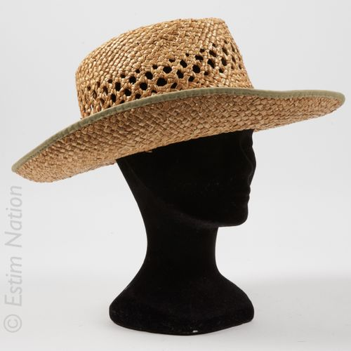 ANONYME TWO LARGE HATS made of woven straw, one woven hat with a ribbon, one hat…