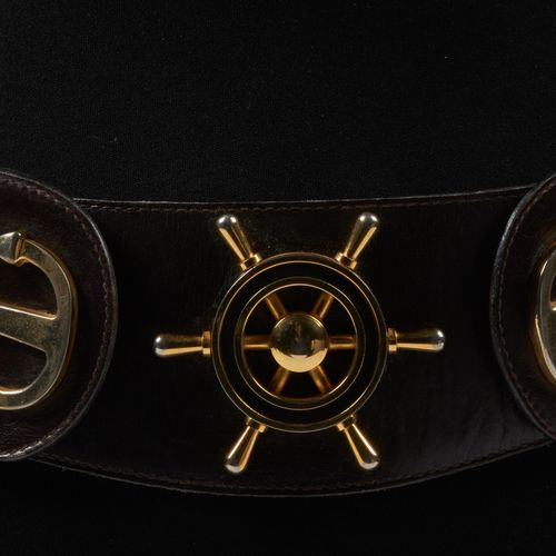 CELINE CIRCA 1980 Chocolate box belt decorated with anchors and a gilded metal r…