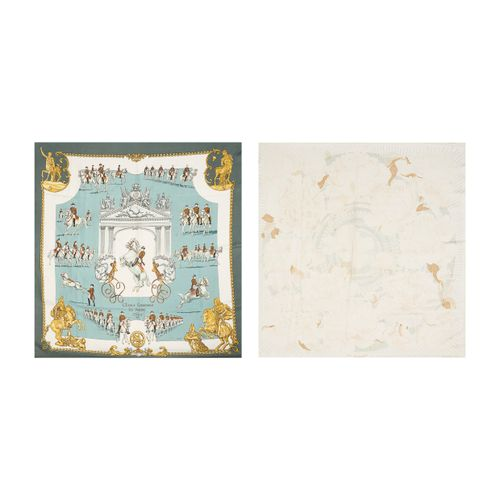 """HERMES Paris TWO CARRES in printed silk twill: the first titled """"The Spanish Sch…"""