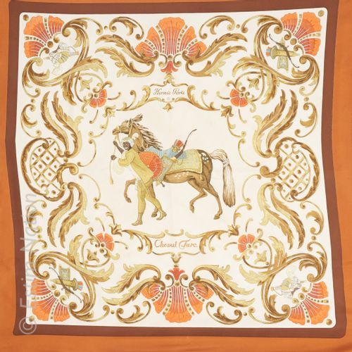 "HERMES Paris SQUARE in printed silk twill titled ""Cheval Turc"" (yellowing, stain…"