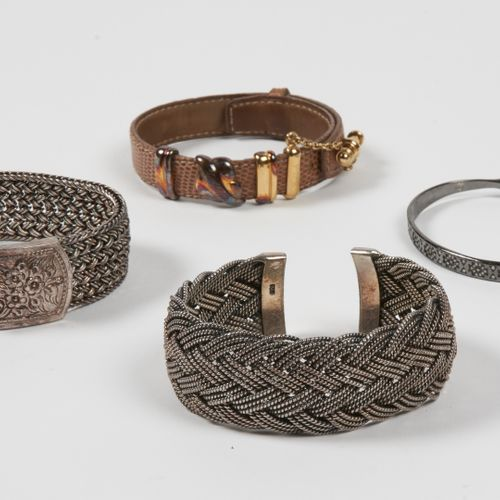 ANONYME, CASHBAH TWO BRACELETS in braided silver (Gross weight: 149,58g), one BR…
