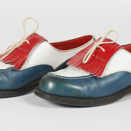 J.M. WESTON Pair of three coloured leather moccasins, red fringed vamp (P 3B, i.…