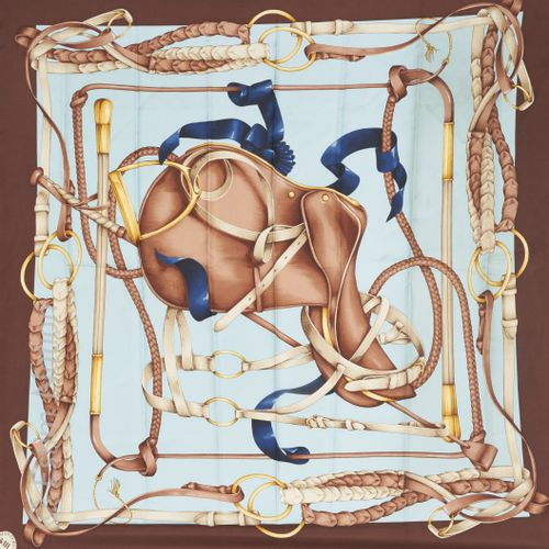 """HERMES, MONTERO COLLECTION SQUARE in printed silk twill titled """"Les Tuileries"""" (…"""