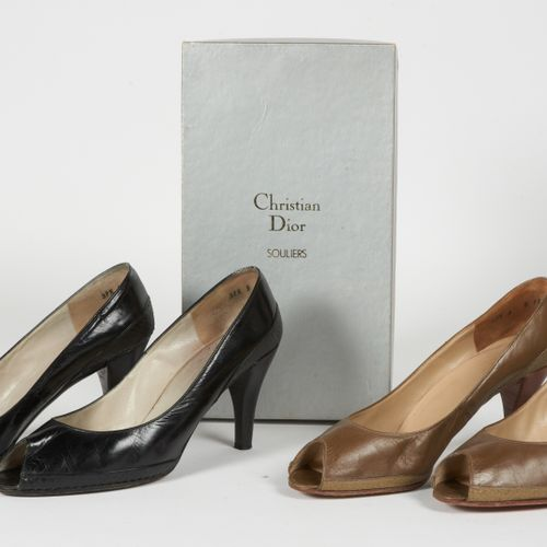 """CHRISTIAN DIOR SOULIERS VINTAGE TWO PAIRS OF OPEN TOEEN SANDALS """"Alma"""" model in …"""