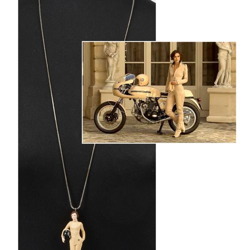 """CHANEL (2011) Keira Knightley"""" motorcycle pendant with silver chain (8,2 cm high…"""