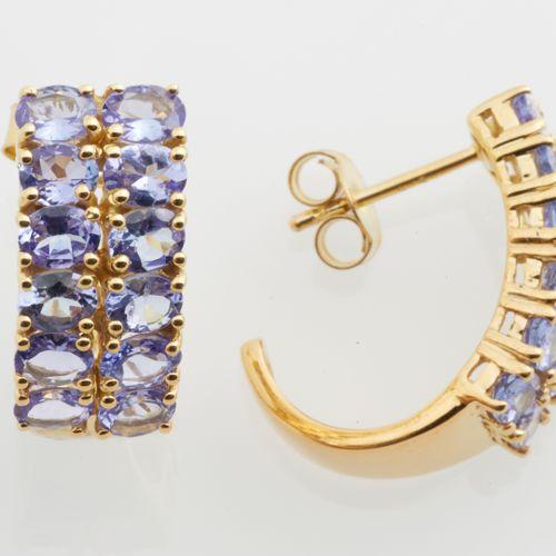 "BOUCLES D'OREILLES Pair of earrings type ""Creoles"" in vermeil (925 thousandths) …"
