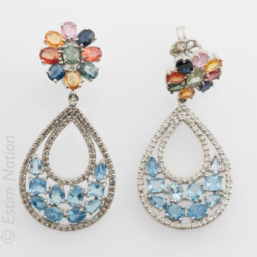 BOUCLES D'OREILLES Important Pair of silver earrings (925 thousandths) composed …