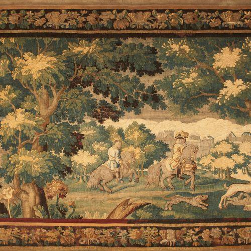 """AUBUSSON Tapisserie dite """"verdure"""" en laine polychrome à décor d'une scène de ch…"""