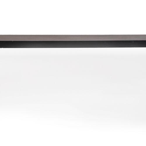DESIGN Importante console en bois laqué noir, de forme rectangulaire reposant su…