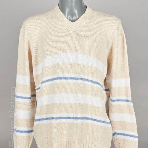 AGNONA PULL OVER en tricot coton et, probablement, cachemire beige et rayé blanc…
