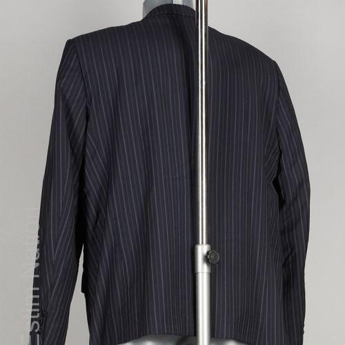 ZEGNA, CANALI, ERMENEGILDO ZEGNA VESTE en laine froide noire à rayures tennis gr…