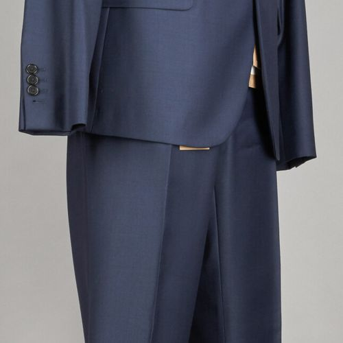 BALIBARIS COSTUME en laine froide encre, veste cintrée, pantalon droit slim (T 5…