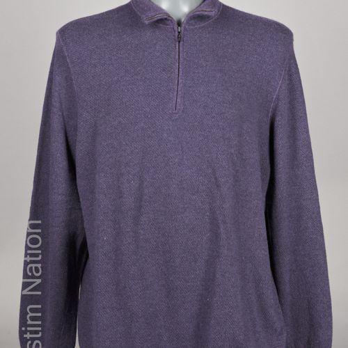 Loro PIANA PULL OVER à col montant zippé en cachemire rayé violet et bleu (T 58)…