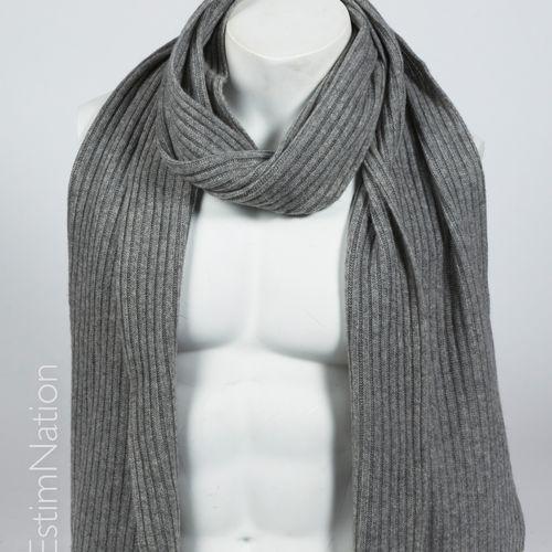 ANONYME ECHARPE en tricot cachemire côtelé gris (30 x 200 cm)