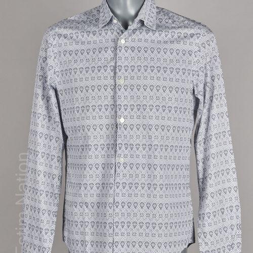 LOUIS VUITTON CHEMISE en coton blanc imprimé du sigle et de montgolfières (T M)