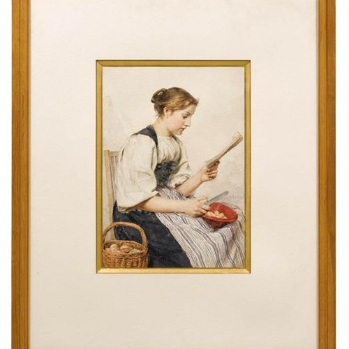 ALBERT ANKER (1831 Ins 1910) A young woman peeling potatoes, reading. Watercolou…