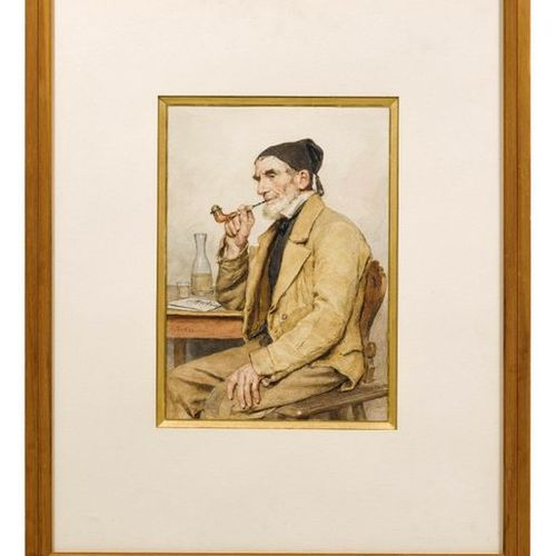 ALBERT ANKER (1831 Ins 1910) Grandfather, smoking a pipe. Watercolour on paper. …