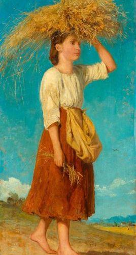 ALBERT ANKER (1831 Ins 1910) Die Ährenträgerin (Glaneuse) 1872. Oil on panel. Si…