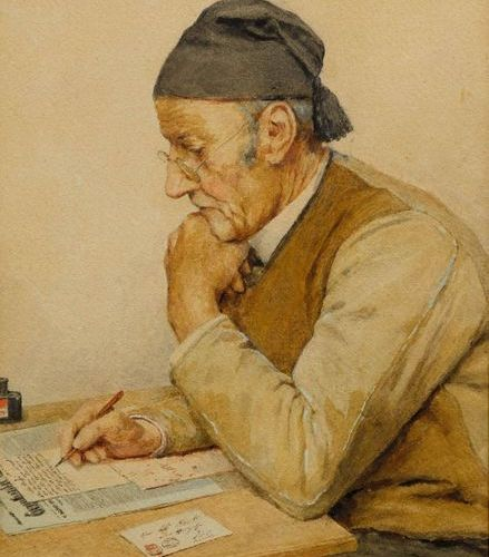 ALBERT ANKER (1831 Ins 1910) Mein lieber Sohn (My dear son). 1909. Watercolour o…