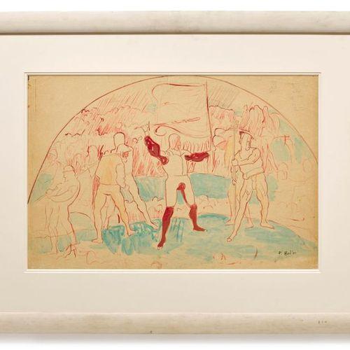 "*FERDINAND HODLER (Bern 1853 1918 Geneva) Composition studio for ""Rückzug von Ma…"