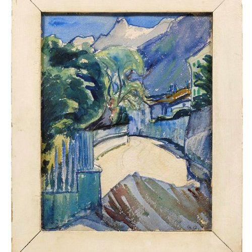 *GIOVANNI GIACOMETTI (Stampa 1868–1933 Glion) Strada a Stampa. 1908. Watercolour…