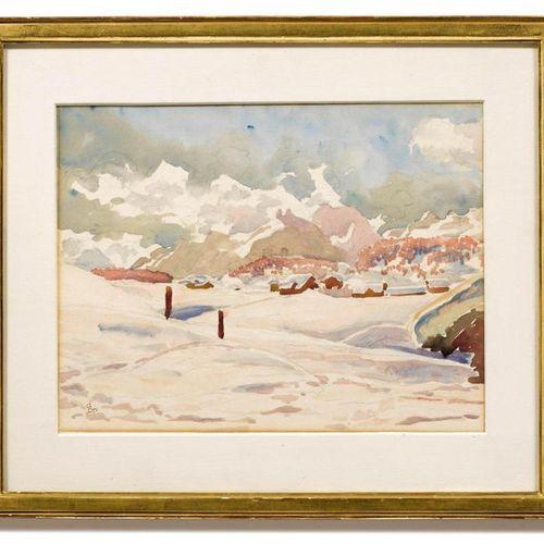 *GIOVANNI GIACOMETTI (Stampa 1868–1933 Glion) Winter landscape near Maloja. Wate…