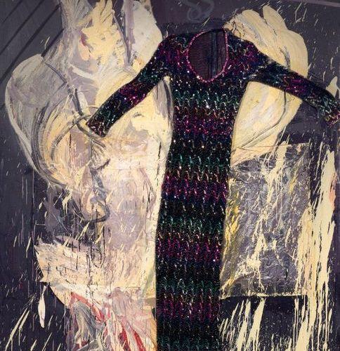 NIKLAUS HASENBÖHLER (1937 Basel 1994) Nancy. 1987. Oil and collage (dress) on ca…