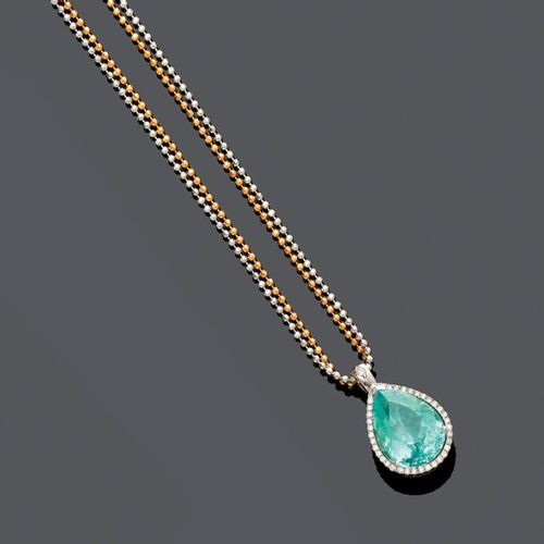 *PARAIBA TOURMALINE AND DIAMOND PENDANT WITH CHAIN, BY FRERICKS. White and pink …