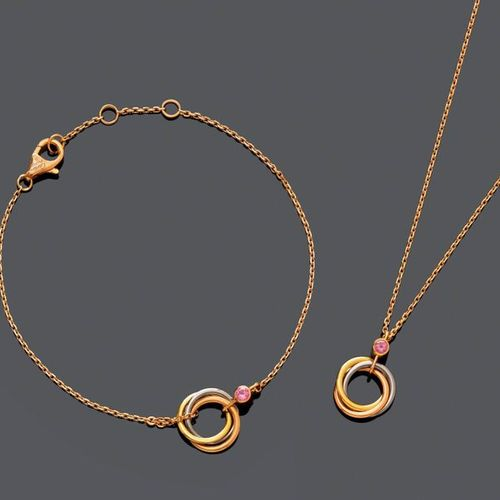 SET GOLD AND SPINEL NECKLACE AND BRACELET, BY CARTIER. Pink, yellow and white go…