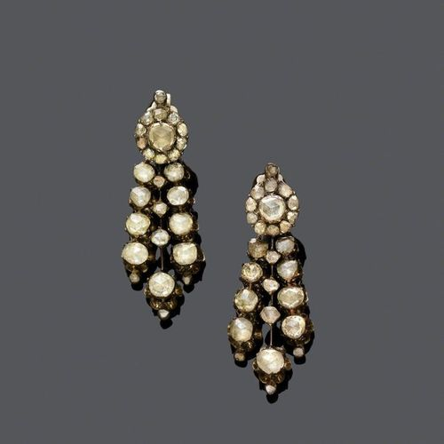 DIAMOND EAR PENDANTS, ca. 1900. Silver and pink gold, 12g. Each set with a diamo…