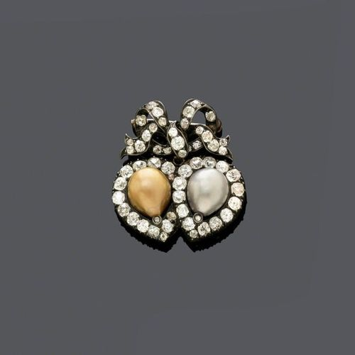 NATURAL PEARL AND DIAMOND BROOCH, ca. 1900. Silver and pink gold, 11g. Brooch de…