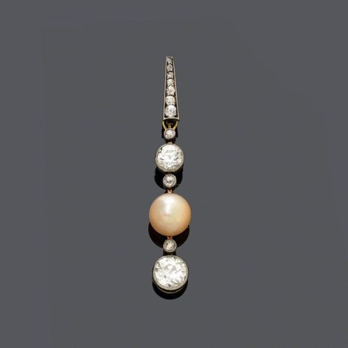 *PEARL AND DIAMOND PENDANT, ca. 1900. Silver and yellow gold. Set with 1 circula…